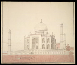 West side of the Taj Mahal, Agra, with plan on reverse